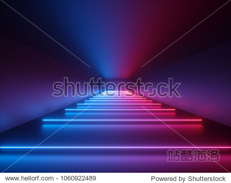 3d render  glowing lines  neon lights  abstract psychedelic background  corridor  tunnel  ultraviolet  spectrum vibrant colors  laser show