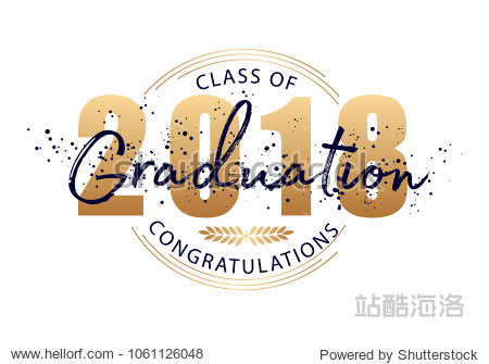 Graduation label. Vector text for graduation design  congratulation event  party  high school or college graduate. Lettering Class of 2018 for greeting  invitation card