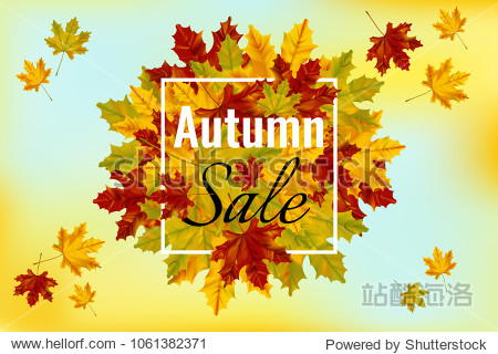 Autumn sale banner template with colorful maple leaves. Shopping discount promotion.