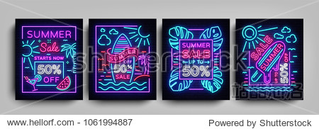 Summer sale collection posters in neon style. Set neon signs Summer sales  Design template Summer discounts  light banner  brochure  Night bright advertising sale and discount. Vector illustration