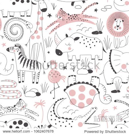 safari animals pattern, summer kid print