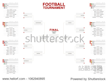 Vector match schedule of football tournament  all matches time and place. Size A2 ready for print.