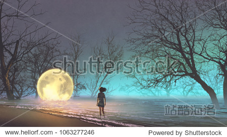 night scenery of young woman looking at the fallen moon on the lake  digital art style  illustration painting