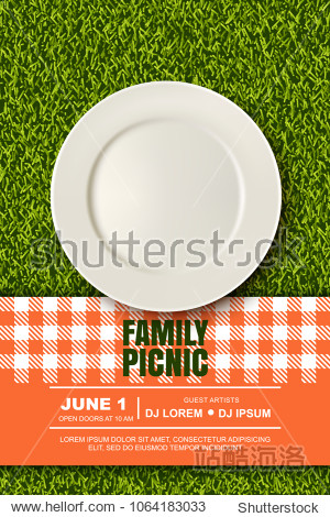 Vector realistic 3d illustration of white empty plate, gingham red plaid on green grass lawn. Spring, summer picnic in park. Banner, poster design template.