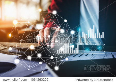 Close up Business woman using calculator and laptop for do math finance on wooden desk in office with financial network diagram  tax  accounting  statistics and analytic research concept