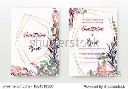 Wedding invitation frame set; flowers  leaves  watercolor  isolated on white. Sketched wreath  floral and herbs garland with green  greenery color. Handdrawn Vector Watercolour style  nature art.