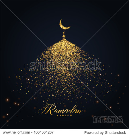 ramadan kareem design with mosque made with glowing particles