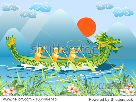 Dragon Boat Festival (Duanwu or Zhongxiao). River landscape with chinese dragon boat, bamboo leaves and plumeria flowers. Vector illustration.