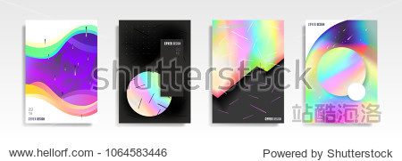 Abstract multicolored covers. Cool trendy fluid gradient shapes. Vector holographic illustration