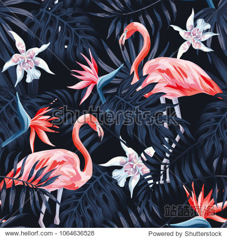 Tropical birds pink flamingo exotic flowers bird of paradise (strelitzia) dark blue palm leaves black background seamless vector pattern