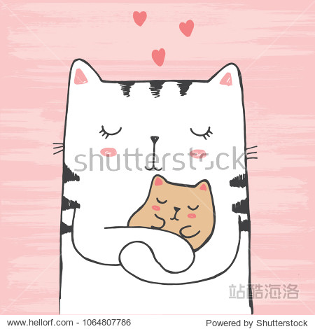 Vector illustration of hand drawn sketch white cat hugs his baby with hearts on scratched grunge pink background peeking out from image corner, card for mother's or father's day, Valentine's Day