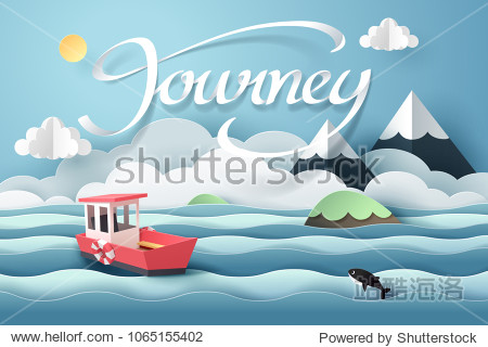 Paper art of red boat and journey calligraphy lettering  origami and travel concept  vector art and illustration.