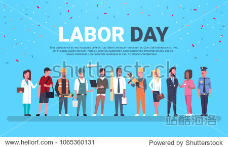 Labor Day Poster With People Of Different Occupations Over Background With Copy Space