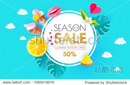 Summer Sale Layout Design Template. Paper Art. Season Offer with Circle Banner  Citrus  Plumeria  Icecream  Lips  Clouds  Pineapple and Monstera on Colorful Bright Background. Vector illustration
