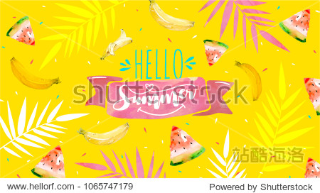 Hello Summer poster  banner in trendy 80s-90s Memphis style. Vector watercolor illustration  lettering and colorful design for poster  card  invitation. Easy editable for Your design.