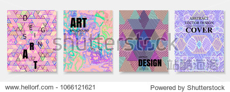 Modern trendy poster design templates with geometric and chaotic shapes. Abstract covers set for placards posters  banners  flyers presentations and reports. Vector illustration. EPS 10.