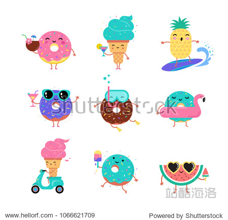 Sweet summer - cute ice cream  watermelon and donuts characters make fun. Pool  sea and beach summer activities concept vector illustrations