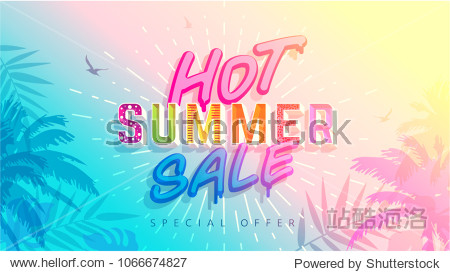 Hot Summer Sale banner. Trendy texture. Season vocation  weekend  holiday logo. Summer Time Wallpaper. Happy shiny Day. Modern vector Lettering. Fashionable styling.