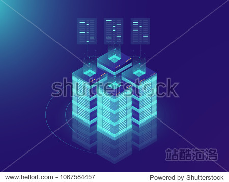 Isometric Server room and big data processing concept  datacenter and data base icon  digital information technology  neon dark gradient