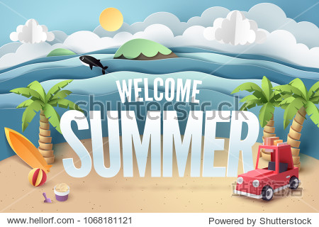 Paper art of red car park at beach with welcome summer text  origami and travel concept  vector art and illustration.