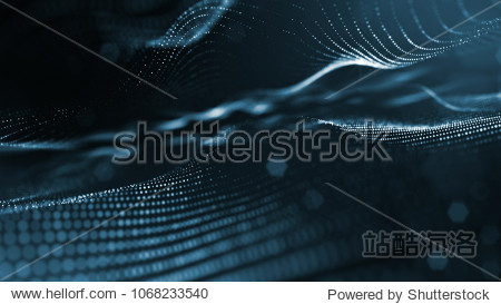 science fiction background of glowing particles with depth of field and bokeh. Particles form line and abstract surface grid. 3d rendering V2 dark background