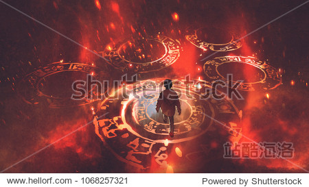boy walking on magic circles or sacred symbols in the air with  digital art style  illustration painting