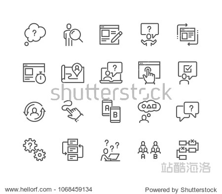 Simple Set of UX Related Vector Line Icons. Contains such Icons as User Flow  Journey Map  A/B Testing and more. Editable Stroke. 48x48 Pixel Perfect.