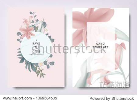 Botanical wedding invitation card template design  pink lily flowers and leaves with blue frame on pink background  vintage style