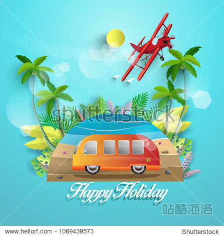 Vector illustration in summer. beautiful beach scenery and tropical trees. holidaying by car. paper art design