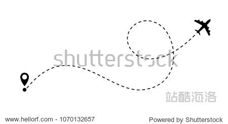 Airplane line path vector icon of air plane flight route with start point and dash line trace