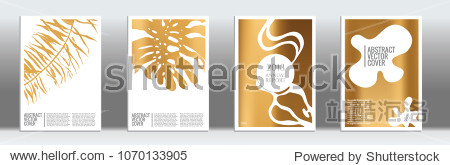 Golden cover set. Exotic flyer on light background.  Liquid design. Brochure template design. Golden backdrop. Stylish vector cover design.  Abstract gradient retro texture.