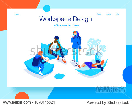 People resting and communicating in a common area. Open workspace and coworking. Landing page concept.3D isometric vector illustration.