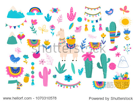 Llama illustration  cute hand drawn elements and design for nursery design  poster  birthday greeting card