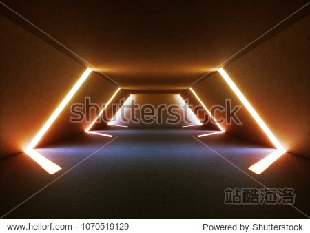 3d render of wide abstract illuminated empty corridor interior made of gray concrete  glowing blue lines with shadow  daylight tunnel with no exit  white light rays  minimalistic space