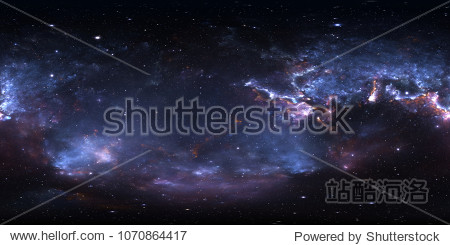 360 degree space nebula panorama  equirectangular projection  environment map. HDRI spherical panorama. Space background with nebula and stars. 3d illustration