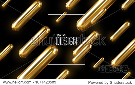 Modern trendy cover design. Vector 3d illustration of realistic golden capsules. Abstract background with liquid gold metallic shapes. Dynamic backdrop. Banner template. Minimal futuristic design