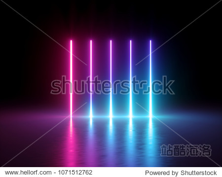 3d render, glowing vertical lines, neon lights, abstract psychedelic background, ultraviolet, spectrum vibrant colors, laser show