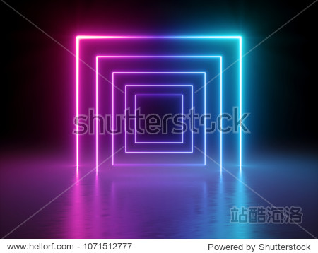 3d render  glowing lines  tunnel  neon lights  virtual reality  abstract background  square portal  arch  pink blue spectrum vibrant colors  laser show