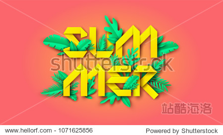 Summer typography design with paper cut design and tropical leaves is an element on colorful background. paper cut and craft style. vector  illustration.
