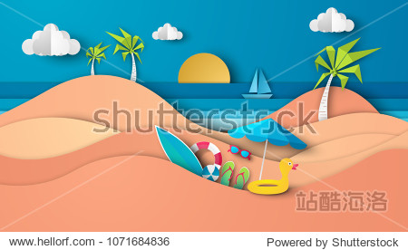 Sea view in summer with water play equipment placed on the beach. view of the blue sea. summer time. sea with beach. paper cut and craft style. vector  illustration.