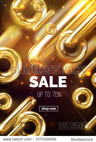 Sale banner design. Vector 3d illustration of promotional ad poster. Abstract modern background with golden geometric shapes and sparkles. Flowinf dynamic percent signs. Wholesale or discount offer.