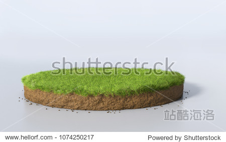 3D Illustration round soil ground cross section with earth land and green grass  realistic 3D rendering circle cutaway terrain floor with rock isolated