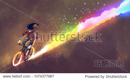 fantasy man with a gas mask riding bicycle with colorful burning wheels  digital art style  illustration painting