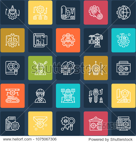 Set Of 25 Engineering Editable Icons. Professional  pixel perfect icons optimized for both large and small resolutions. EPS 10 format.