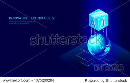 Isometric artificial intelligence business concept. Blue glowing isometric personal information data connection planet Earth future technology. 3D infographic vector illustration