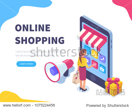 Online shopping concept banner with characters. Can use for web banner  infographics  hero images. Flat isometric vector illustration isolated on white background.