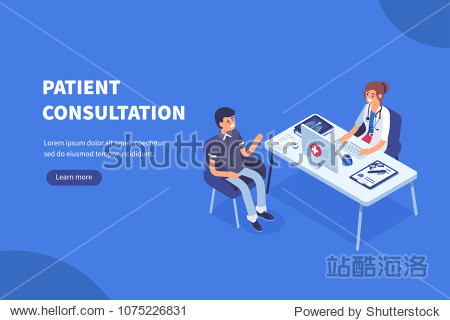 Doctor and patient concept banner with characters. Can use for web banner  infographics  hero images. Flat isometric vector illustration.