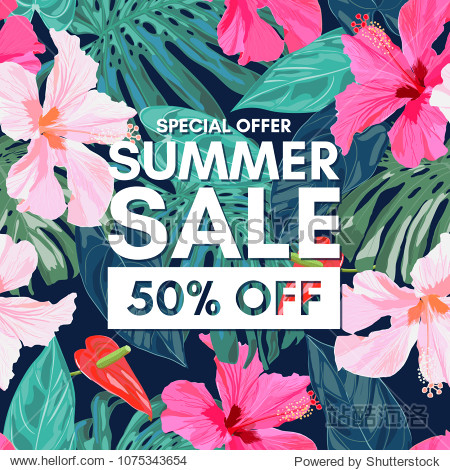 Summer sale tropical colorful background with exotic leaves and hibiscus flowers.