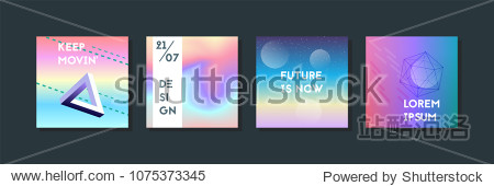 Holographic fluid set. Geometric shapes on gradient background. Trendy hipster template for card  presentation  banner  flyer  brochure. Minimal holographic fluid in neon colors. Memphis style
