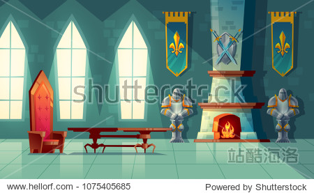 Vector castle hall  interior of royal ballroom with throne  table  fireplace and knight armor. Luxury furniture in medieval palace. Fantasy  fairy tale or game background